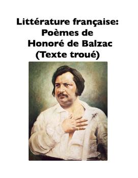 French Literature: Poèmes de Honoré de Balzac (Texte troué)