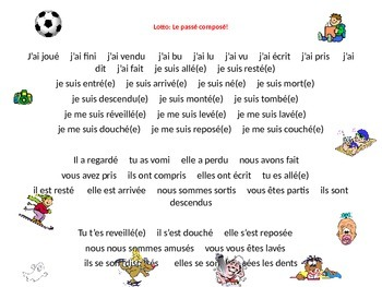 French Teaching Resources. Lotto/ Bingo: The Perfect Tense PowerPoint Slide