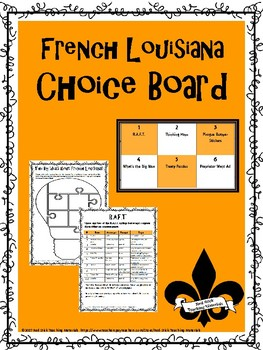 French Louisiana Choice Board & Activity Pack