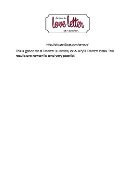 French Love Letter Generator