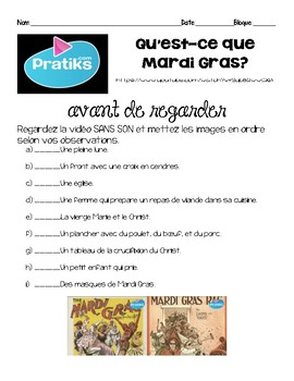 French MARDI GRAS video INTERMEDIATE listening activity