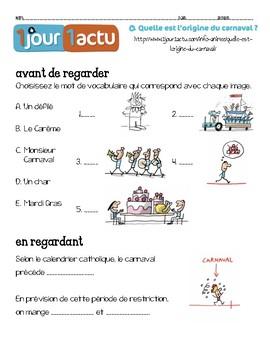 French MARDI GRAS video NOV. HIGH/INT. LOW listening activity
