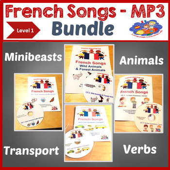 French MP3 Songs & Song Booklets Bundle - Learn Verbs, Animals, Transport