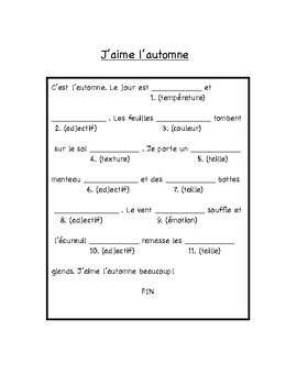 French Madlibs Adjectives - Part 1