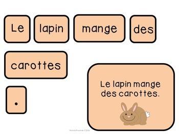 French Making Sentences Center (Faire Des Phrases)