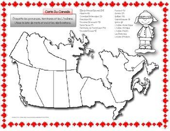 French ~ Map Of Canada ~ Carte Du Canada (Provinces et Territoires)
