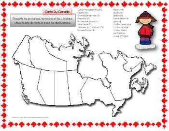 French ~ Map Of Canada ~ Carte Du Canada (Provinces et Ter