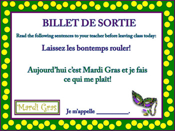 French Mardi Gras Exit Tickets