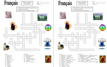 French Martin Luther King Day Crossword and Vocabulary