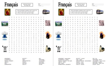French Martin Luther King Day Word Search, Vocabulary, and Image IDs