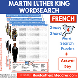 French Martin Luther King Word Search (en francais) Black History Month