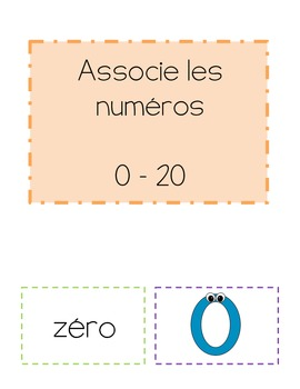 French Matching Numbers Math Game