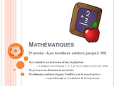 French Math 1-100 counting, patterns, addition and subtrac