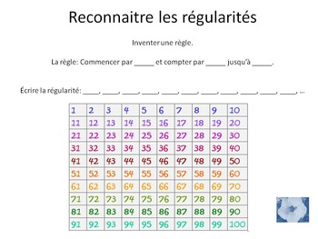 French Math 1-100 counting & patterns
