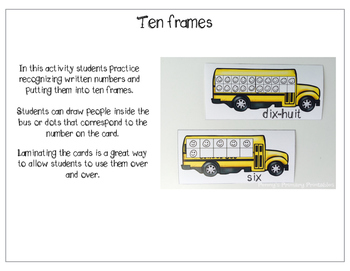 French Math Centres- Rentrée Scolaire