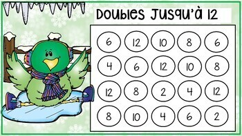 French Winter Math BUMP Game & Math Center , Doubles & Doubles+1 to 19!