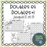 French Math Game, Jeu de maths, Doubles et doubles +, noir et blanc