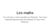 French - Numbers through 100 Math Game