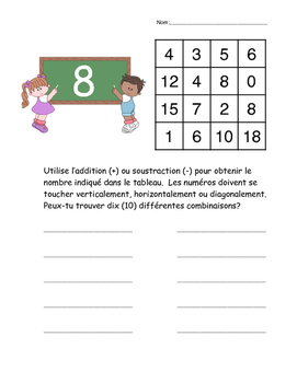 French Math Noggle sheets