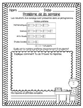 French Math Problem of the Week - Data Management GRADE 3 (Gestion des données)