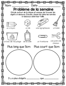 French Math Problem of the Week - Measurement GRADE 2 (Les mesures)