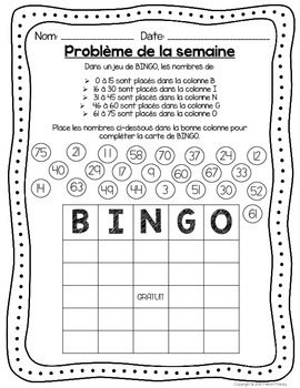 French Math Problem of the Week - Place value, Addition, Money etc. (GRADE 2)