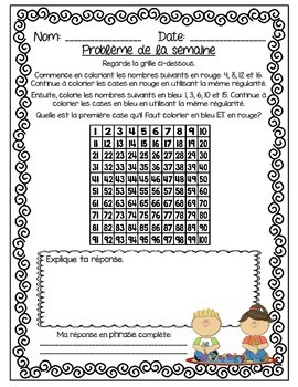 French Math Problem of the Week - Patterning (Les suites et l'algèbre)