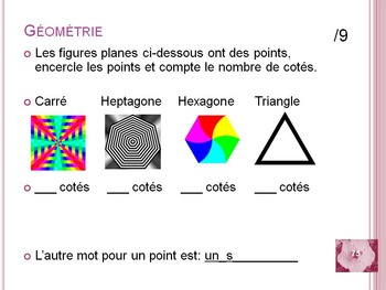 French Math Review, for 2&3, Patterns, Add, Subtract, Measure, Tables, Geometry