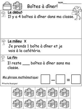 French Math Word Problems (FREE) Résolutions de problèmes en mathématiques