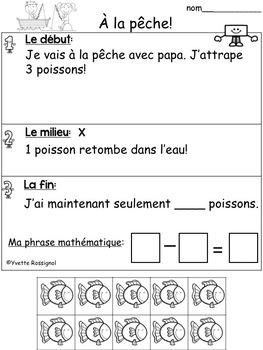 French Math Stories (Le printemps, L'été) Word Problems  Résolution de problèmes