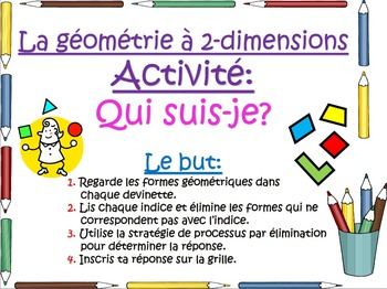 French Math Task Cards - 2D Geometry Shapes (La géométrie à 2 dimensions)