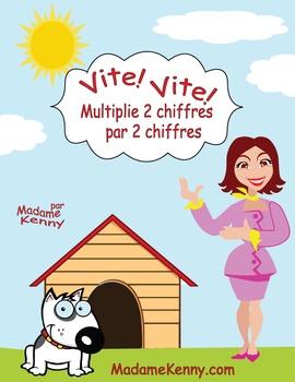 French Math Task Cards-Multiplie 2 Chiffres Par 2 Chiffres