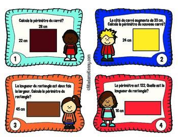 French Math Task Cards Perimeter Series 2- Cartes à tâches perimetre Série 2