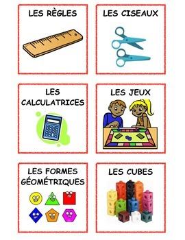 French Math bin Labels