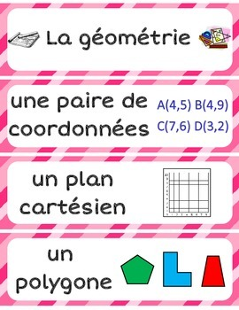 French Math Word Wall Labels - Geometry, Measurement, Data and Probability