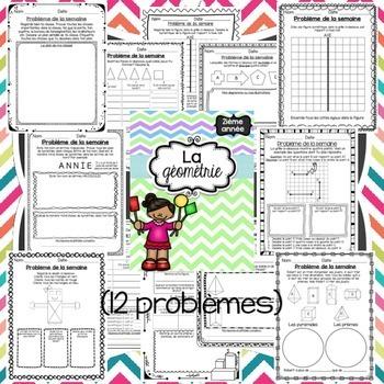 French Math Word Problems BUNDLE (Grade 2 - Problème de la semaine)