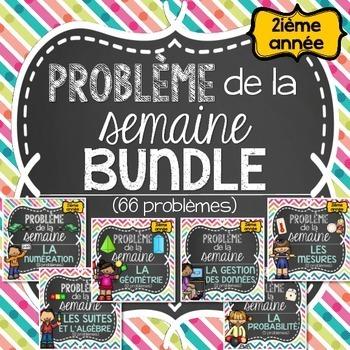French Math Word Problems BUNDLE (Grade 2 - Problème de la
