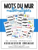 French Math Word Wall - Mots de Mur Mathématiques français