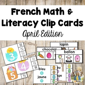 French Math and Literacy Centre Clip Cards - APRIL/EASTER Edition