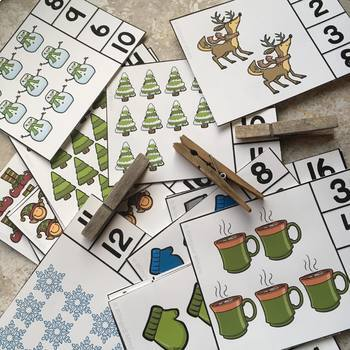 French Math and Literacy Centre Clip Cards - DECEMBER / HOLIDAYS