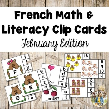 French Math and Literacy Centre Clip Cards - FEBRUARY/VALENTINE'S DAY Edition