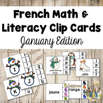 French Math and Literacy Centre Clip Cards - JANUARY/WINTER Edition