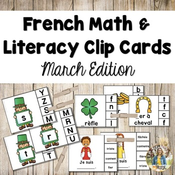 French Math and Literacy Centre Clip Cards - MARCH/ST PATRICK'S DAY Edition
