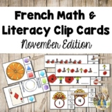 French Math and Literacy Centre Clip Cards - NOVEMBER