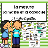 French Measurement Mass and Capacity vocabulary cards (la masse et la capacité)