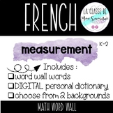 French Measurement Math Word Wall & Observations Sheet