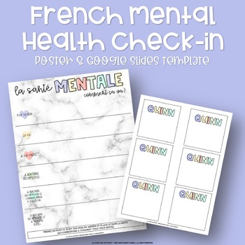 French Mental Health Check-In - Poster & Google Slides Template