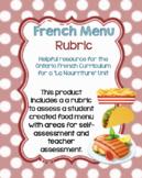 French Menu Rubric: Food Unit