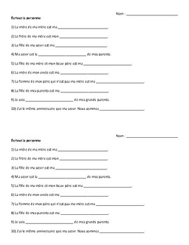 French - Mini Worksheet - Family