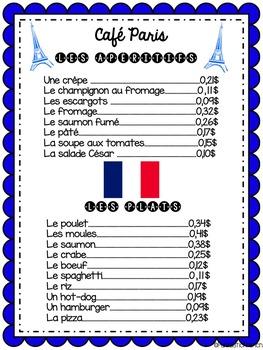 French Money Activity  (La monnaie) Grade 2